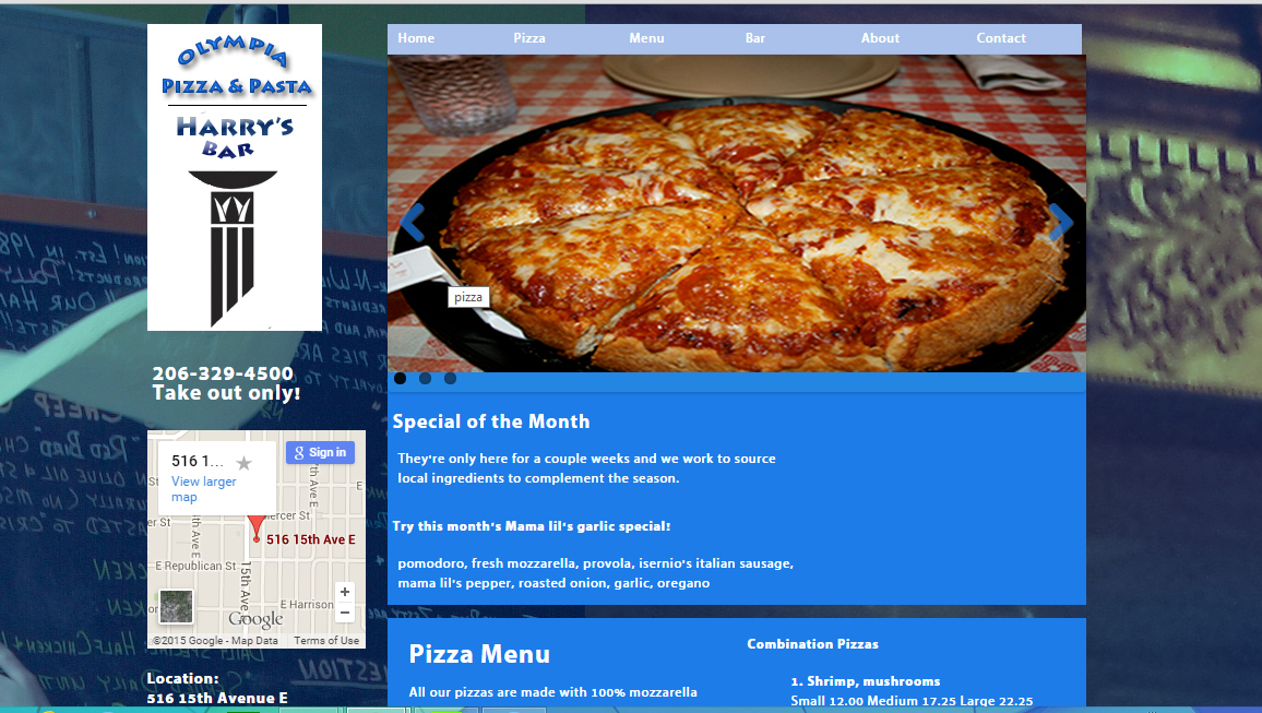 web 200 project Olympia Pizza